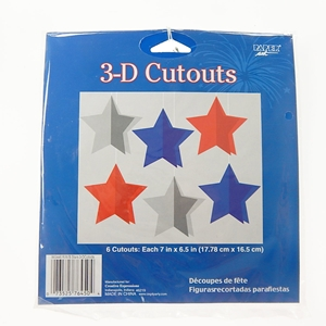 Paper Art 3-D Stars Cutouts - 6-Pack