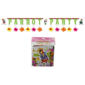 Paper Art Parrot Party 8-Foot Jointed Banner