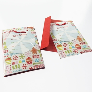 Christmas Cupcake Gingerbread 10Ct Invitation Cards