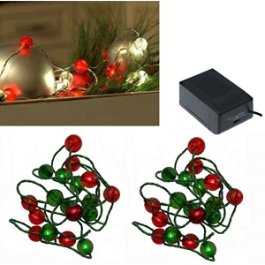 Jewel Bead Light Strands Red And Green Set Of 2