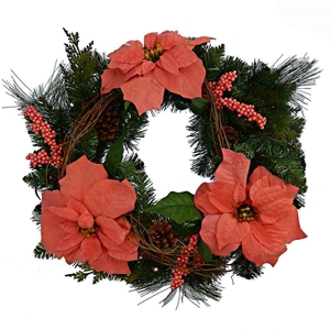 Evergreen Wreath With Salmon Poinsettia