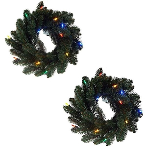 "Set Of 2 16"" Wreaths Multi Color"