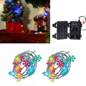 Set Of 2 Christmas Icon Snowflake Light Strands Multi