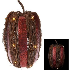 Metal And Rattan Harvest Pumpkin 18""