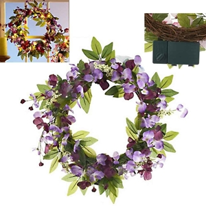 Purple Sweet Pea Floral Wreath Led Lights