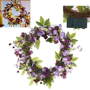 Purple Sweet Pea Floral Wreath Led Lights