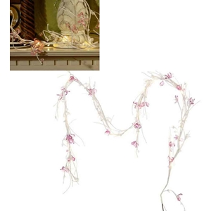 Pink Beaded Jewel Flower Garland Led Lights