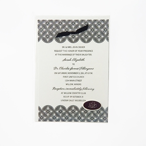 Black Pattern 10Ct Invitations And Envelopes