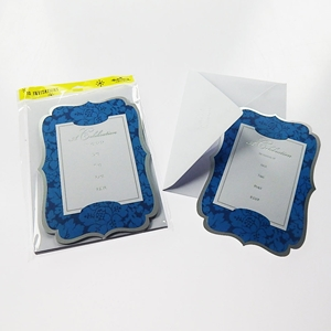 Ornate Blue And Silver Die Cut 10Ct Celebration Invitation Cards