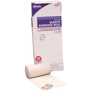 "Dukal Elastic Bandage, 4""X4.5Yds, Non-Sterile, With Clips, Latex, 10Rl/Bx 5Bx/Cs"