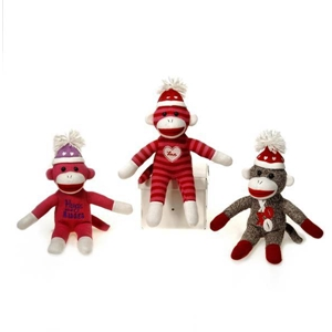 "7"" 3 Assorted Sitting Sock Monkey"