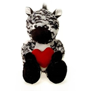 "13"" Cuddle Zebra With Heart"