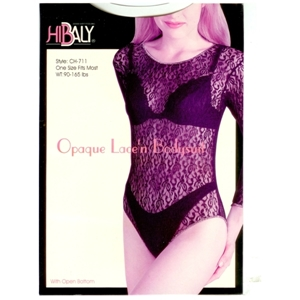 Opaque Lace Body Suit With Button Crotch