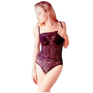 Lace Bodysuit W/Spaghetti Straps and Button Crotch