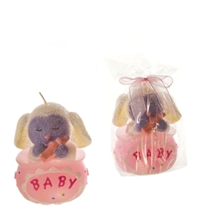 Baby Lamb Sitting In A Bag Candle - Pink