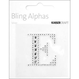 """Rhinestone Silver Crystal Letter """"E"""" - 1.4"""" X 1.25"""""""
