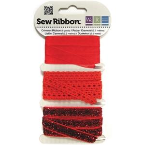 """Crimson Sew Ribbon - 0.39"""" X 6 Yards"""