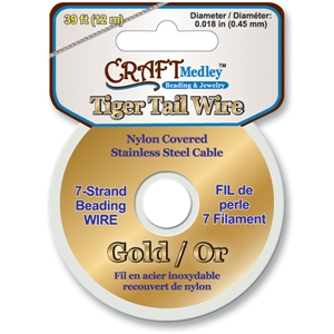 Tiger Tail Beading Wire 7-Strand .45Mm-Gold