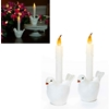 White Dove Bird Flameless Candle Set Of 2