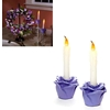 Purple Flower Flameless Taper Candles Set Of 2