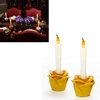 Yellow Flower Flameless Taper Candles Set Of 2