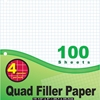 "Bazic 100 Ct. 4-1"" Quad-Ruled Filler Paper"