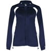 Badger Ladies' Hook Brushed Tricot Polyester Full Zip Jacket - Navy/White (Xl)