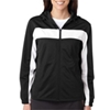 Badger Ladies' Brushed Tricot Hooded Jacket - Black/White (Xl)