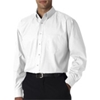 Ultraclub(R) Men'S Long-Sleeve Performance Pinpoint - White (M)