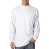 Ultraclub(R) Adult Egyptian Interlock Long-Sleeve Mock Turtleneck - White (M)