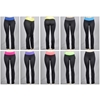 Women'S Boot Cut Athletic Yoga Pants - Black W/ Colored Waist Bands