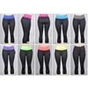 Women'S Athletic Capri Yoga Pants - Black W/ Colored Waist Bands