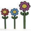 "24"" 3 Assorted Pixelated Flower - Blue Red"