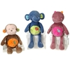 """8"""" 3 Assorted Jungle Animals With Rattl"""