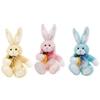 "13"" Plush Bunny Holding A Carrot And Chiffon Ribbon"