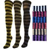 """J.Ann"" Ladies Glitter Wide Striped Over Knee High Socks"