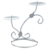 Dual Leaf Two Tier Candle Holder - Matte Silver