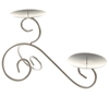Dual Swirl Two Tier Candle Holder - Matte Silver