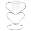 Double Heart Votive Candle Holder - Matte Silver