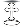 Religious Cross Candle Holder - Matte Black