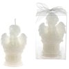 Baby Angel Sitting On Round Column Candle - White