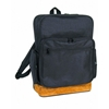 """16"""" 600D Poly Backpack W/Leather Bottom - Black"""
