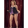 Purple/Black Babydoll With G-String Extra Large