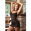 Women'S Black Nightdress With G-String-Medium
