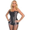 Women'S Black Bustier With Pink Ribbon-Large
