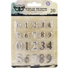 "Metal Vintage Trinkets-Mini Numbers .5"" To .75"", 20/Pkg"