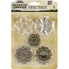 "Metal Vintage Trinkets-Flower Shapes 1.75"" To 2.5"", 5/Pkg"