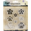 "Metal Vintage Trinkets-Mini Flowers .5"" To 1"", 8/Pkg"