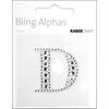 """Rhinestone Silver Crystal Letter """"D"""" - 1.4"""" X 1.4"""""""