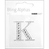 """Rhinestone Silver Crystal Letter """"K"""" - 1.4"""" X 1.5"""""""